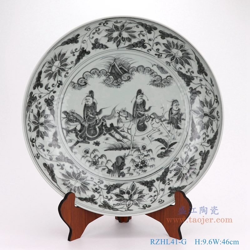上图:仿古手绘元青花人物故事大圆盘瓷盘  购买请点击图片