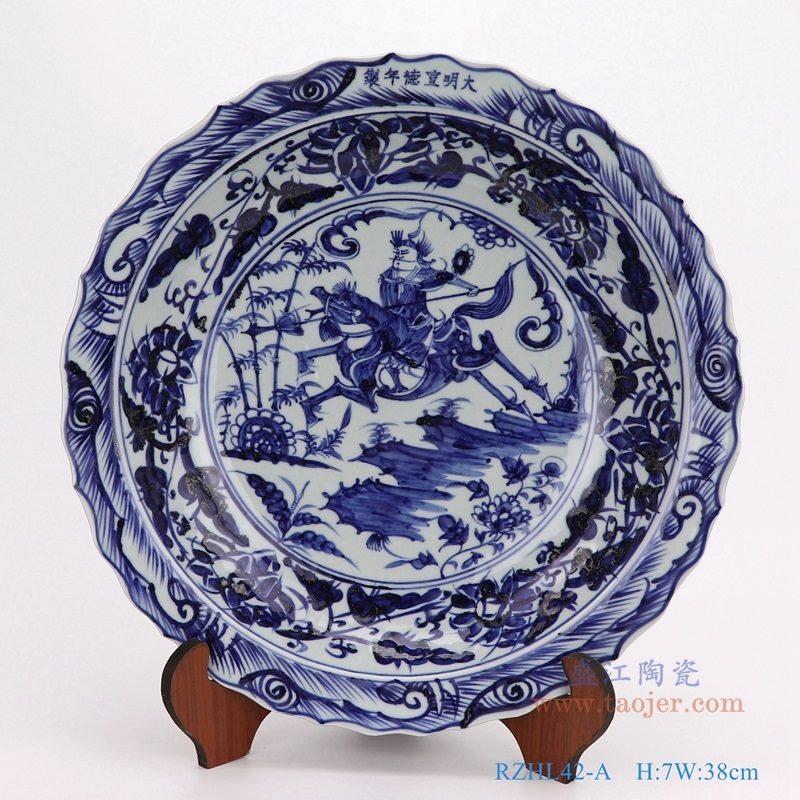 上图:仿古手绘元青花人物战将大葵口盘瓷盘 购买请点击图片