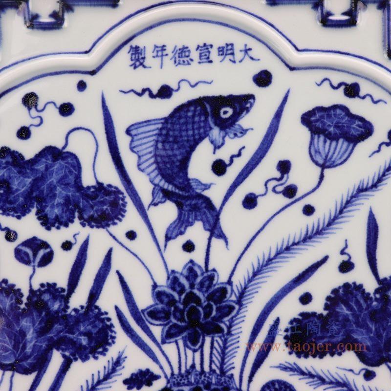 上图:仿古青花手绘大明宣德鱼藻纹雕刻四方茶盘细节图  购买请点击图片