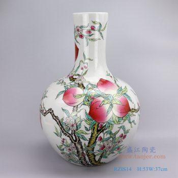 RZIS14-仿古清乾隆手绘粉彩九寿桃图大号花瓶