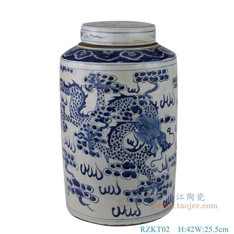 上图:仿古做旧手绘青花云龙凤纹带盖茶叶罐 正面图 购买请点击图片