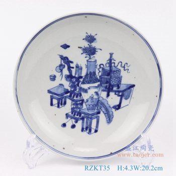 RZKT35-仿古手绘青花博物图8寸盘子