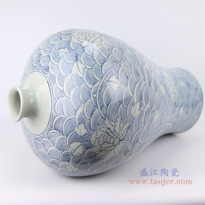 RZKY19 仿古青花 手绘海水纹花卉梅瓶大号