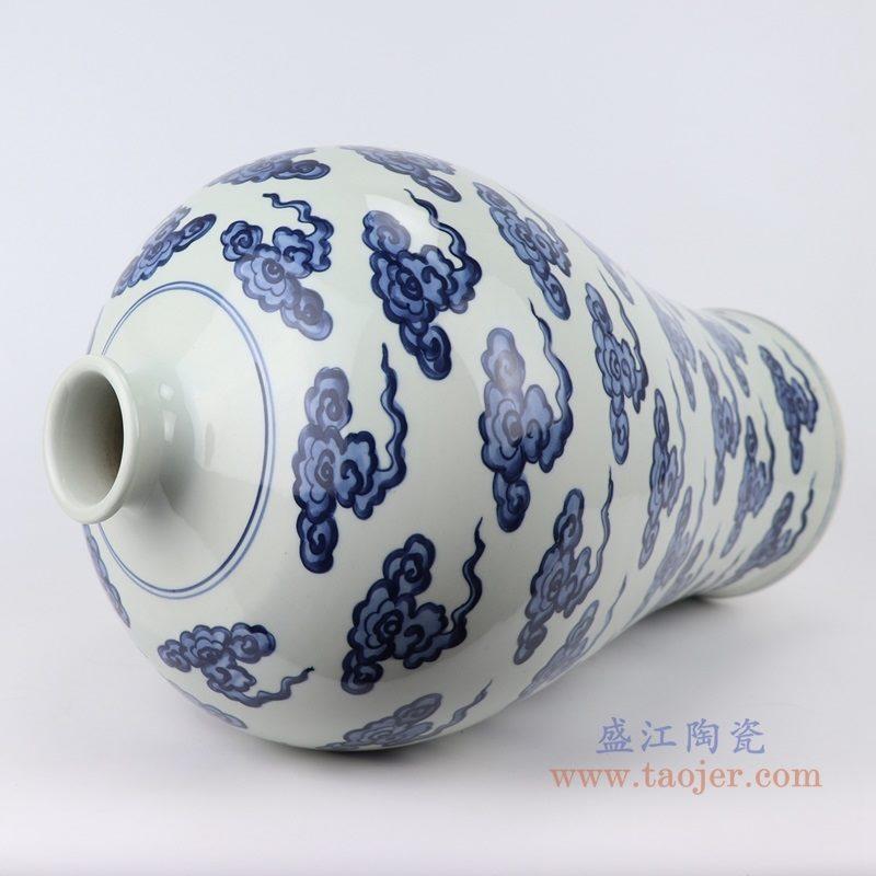 上图:RZKY20 仿古青花 手绘云纹梅瓶口部 购买请点击图片