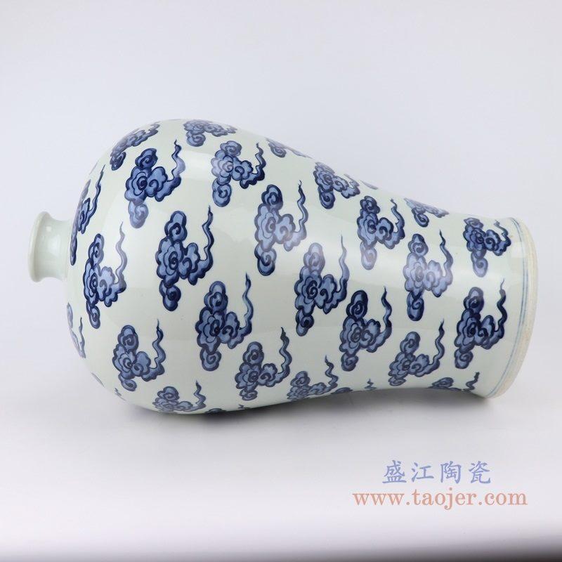 上图:RZKY20 仿古青花 手绘云纹梅瓶侧面 购买请点击图片
