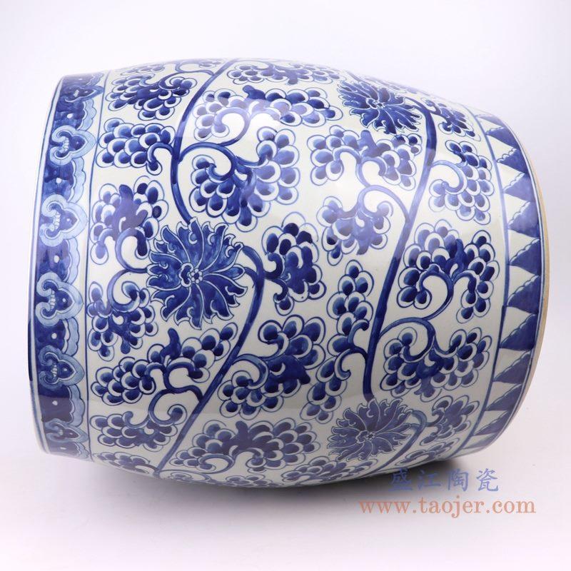 上图:仿古手绘青花缠枝莲串花葡萄纹鼓形大缸侧面 购买请点击图片