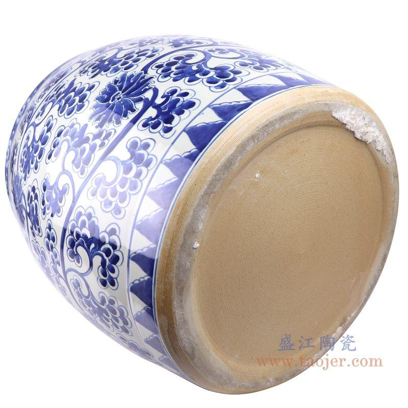 上图:仿古手绘青花缠枝莲串花葡萄纹鼓形大缸底部图  购买请点击图片