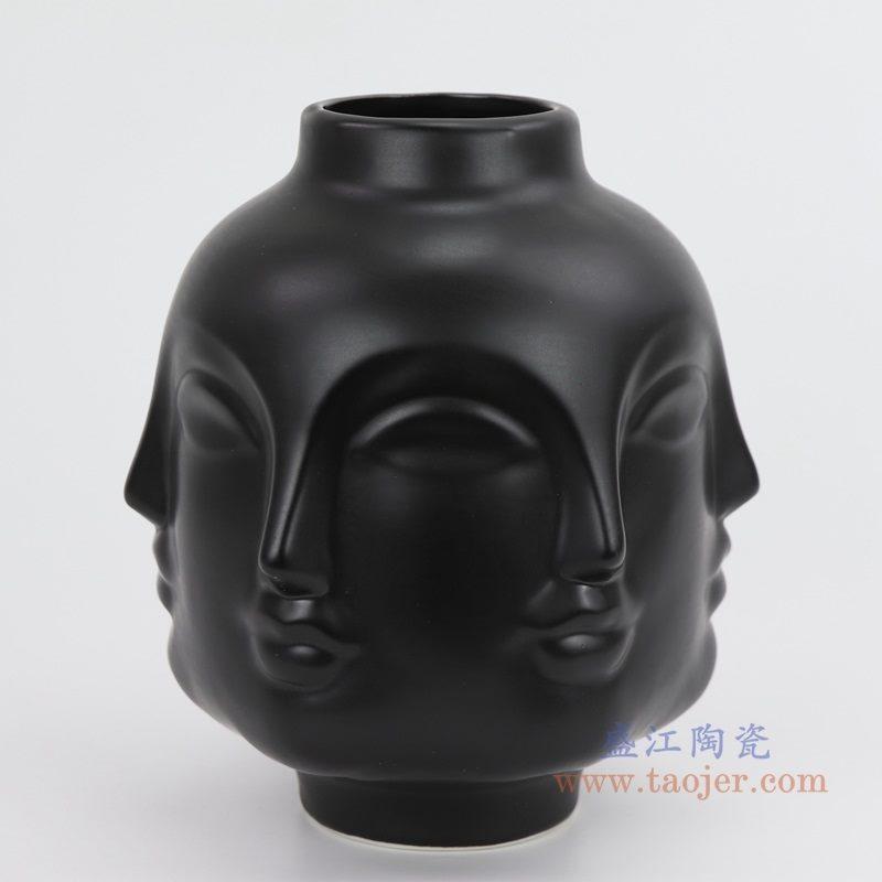 上图:RZLK25-A-black 北欧缪斯哑光黑色陶瓷六面人脸花瓶 微笑的朵拉侧面 购买请点击图片