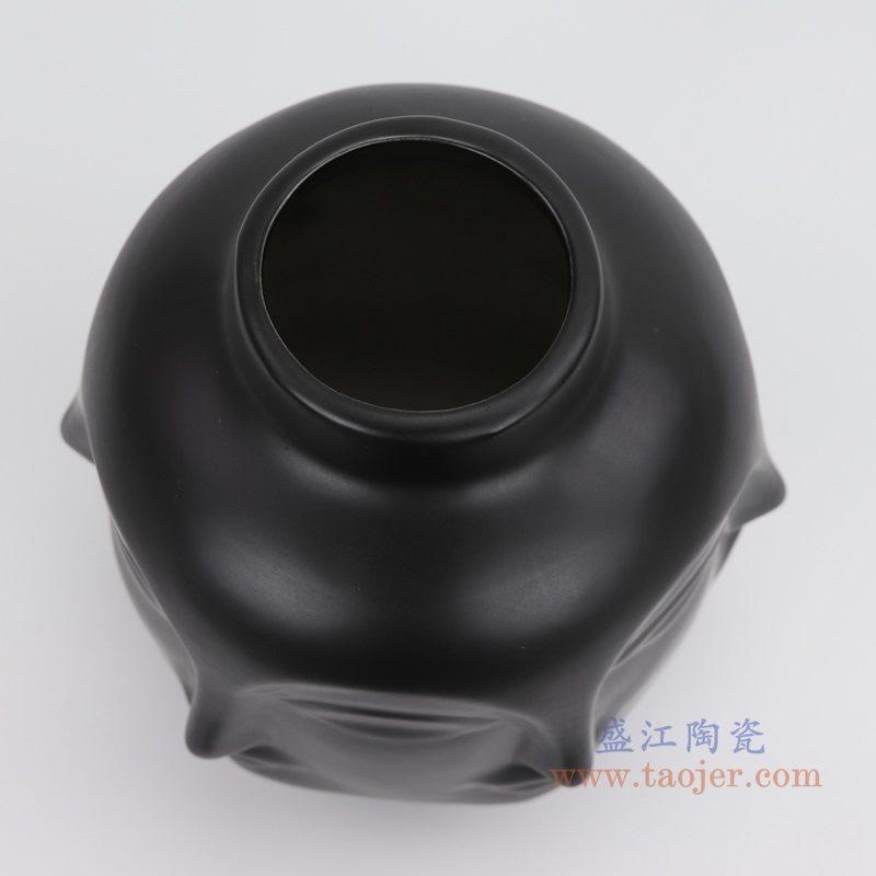 上图:RZLK25-A-black 北欧缪斯哑光黑色陶瓷六面人脸花瓶 微笑的朵拉口部 购买请点击图片