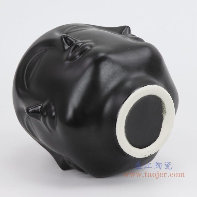 上图:RZLK25-A-black 北欧缪斯哑光黑色陶瓷六面人脸花瓶 微笑的朵拉底部 购买请点击图片