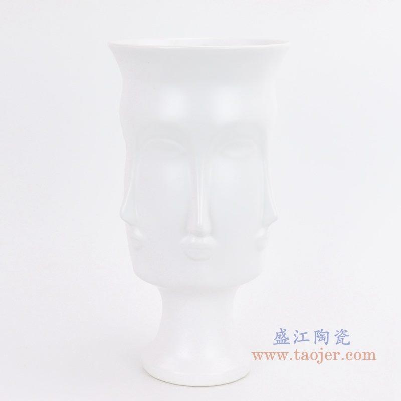 上图: RZLK25-B 北欧缪斯哑光白色陶瓷人脸花瓶 优雅的朵拉正面  购买请点击图片