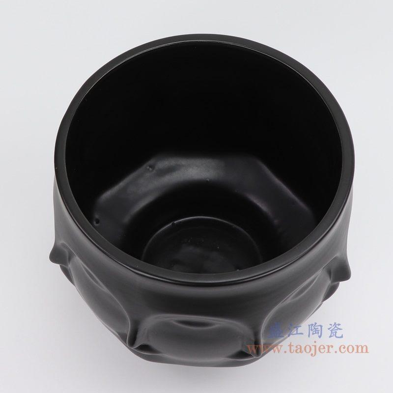 上图:RZLK25-D-black北欧缪斯哑光黑色陶瓷八面人脸花瓶 纯洁的玛丽口部 购买请点击图片