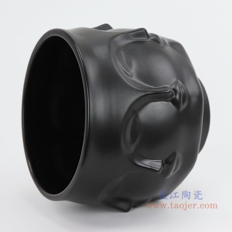 上图:RZLK25-D-black北欧缪斯哑光黑色陶瓷八面人脸花瓶 纯洁的玛丽侧面 购买请点击图片