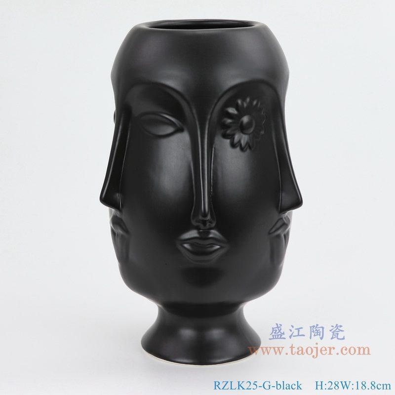 上图:RZLK25-G-black北欧缪斯哑光黑色陶瓷六面人脸花瓶俏皮的伊迪 正面 购买请点击图片