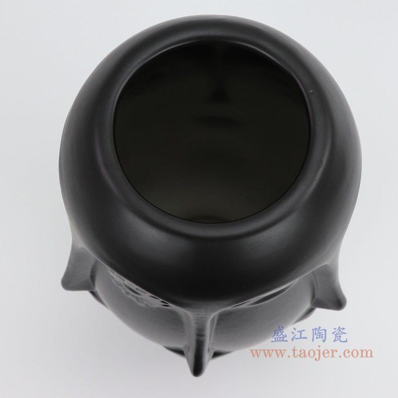 上图:RZLK25-G-black北欧缪斯哑光黑色陶瓷六面人脸花瓶俏皮的伊迪 口部 购买请点击图片