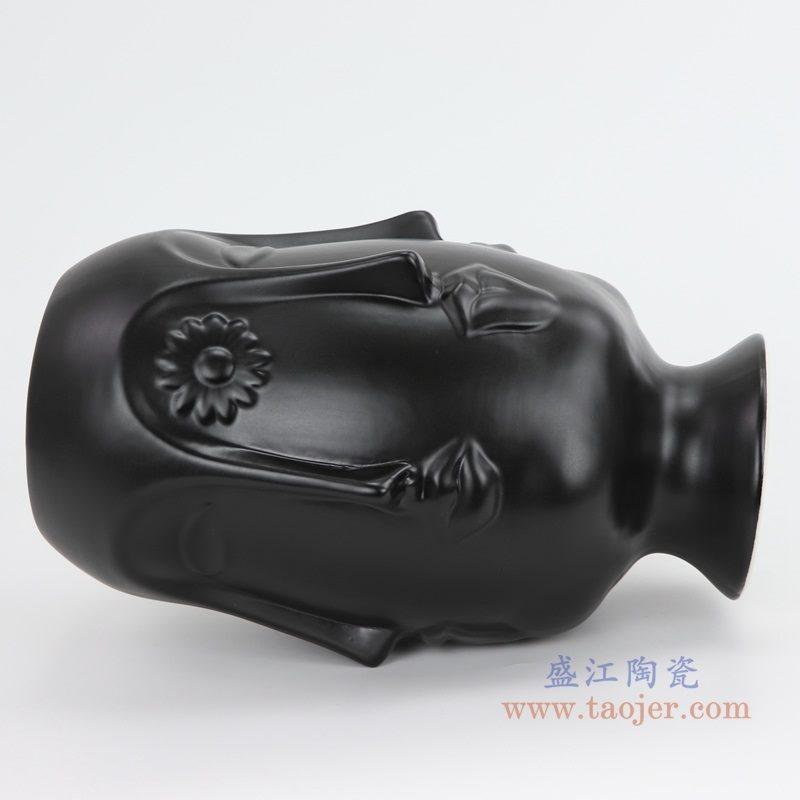 上图:RZLK25-G-black北欧缪斯哑光黑色陶瓷六面人脸花瓶俏皮的伊迪 侧面 购买请点击图片
