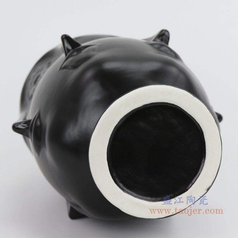 上图:RZLK25-G-black北欧缪斯哑光黑色陶瓷六面人脸花瓶俏皮的伊迪 底部 购买请点击图片
