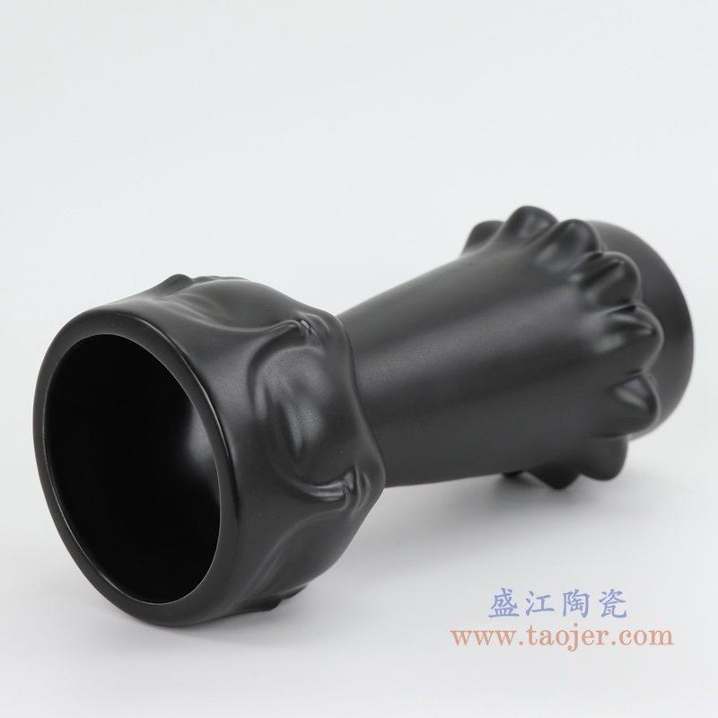 上图:RZLK25-c-black北欧缪斯哑光黑色陶瓷人脸花瓶 迷人的伊迪口部  购买请点击图片