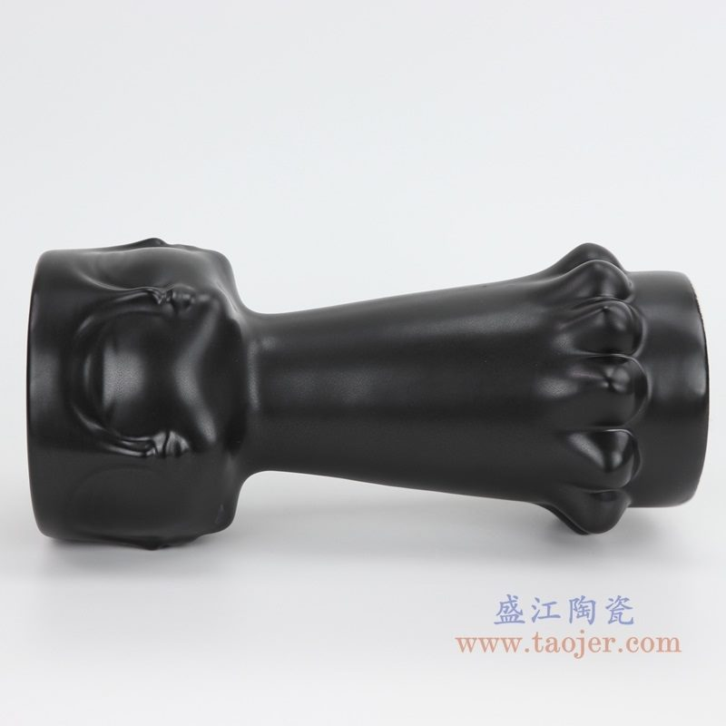 上图:RZLK25-c-black北欧缪斯哑光黑色陶瓷人脸花瓶 迷人的伊迪侧面  购买请点击图片