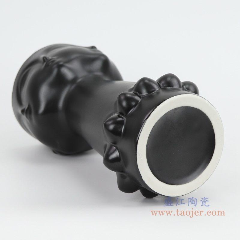 上图:RZLK25-c-black北欧缪斯哑光黑色陶瓷人脸花瓶 迷人的伊迪底部  购买请点击图片