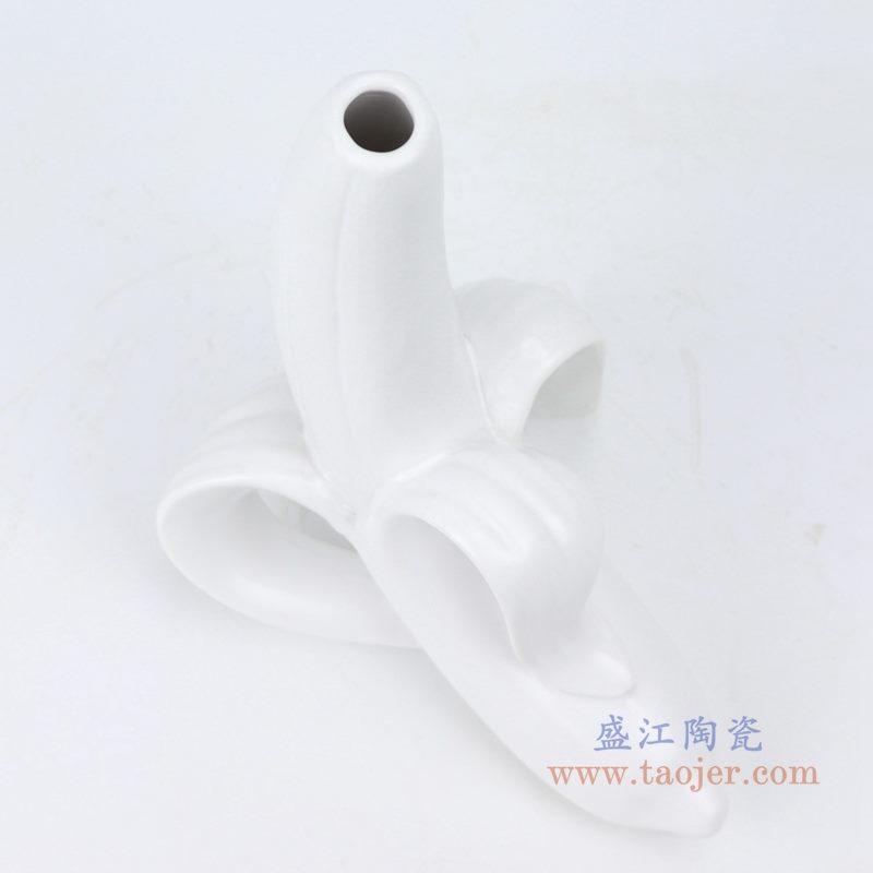 上图:陶瓷人脸雕塑花瓶系列哑光白拨开香蕉口部 购买请点击图片