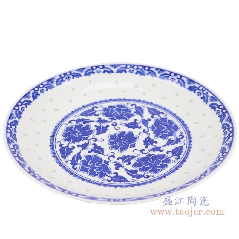 上图:RZLL11青花玲珑牡丹纹十寸盘 深盘俯视图 购买请点击图片