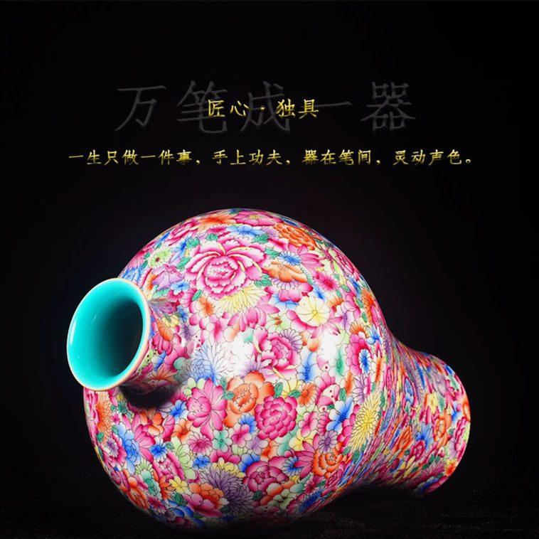 上图:RZLS09手绘粉彩万花 花卉梅瓶 侧面和口部 购买请点击图片