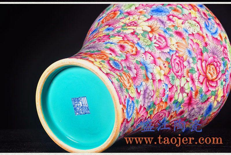 上图:RZLS09手绘粉彩万花 花卉梅瓶 侧面和底部 购买请点击图片