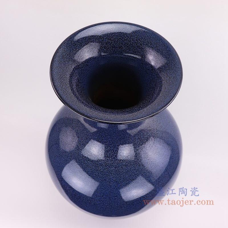上图:颜色釉窑变星空蓝深蓝祭蓝赏瓶大花瓶口部  购买请点击图片
