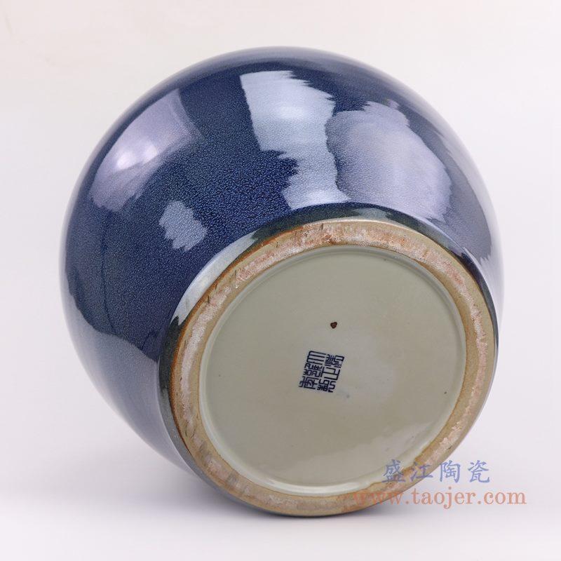 上图:颜色釉窑变星空蓝深蓝祭蓝赏瓶大花瓶底部图  购买请点击图片