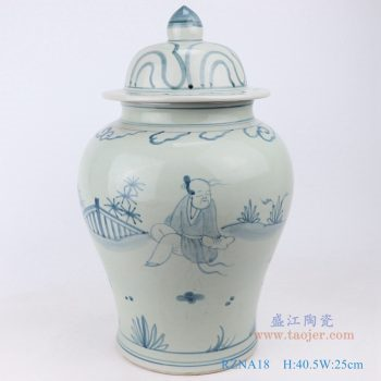 RZNA18-仿古手绘做旧青花人物将军罐