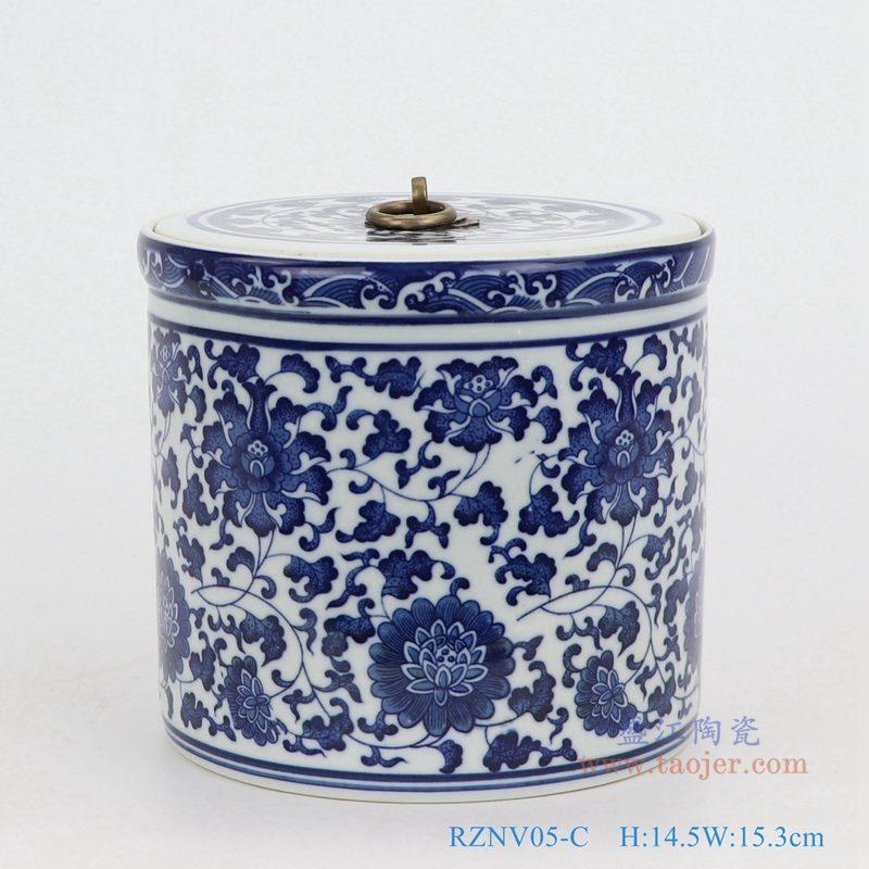 上图:青花缠枝莲纹带铜环盖子圆直筒茶叶罐子小号 购买请点击图片