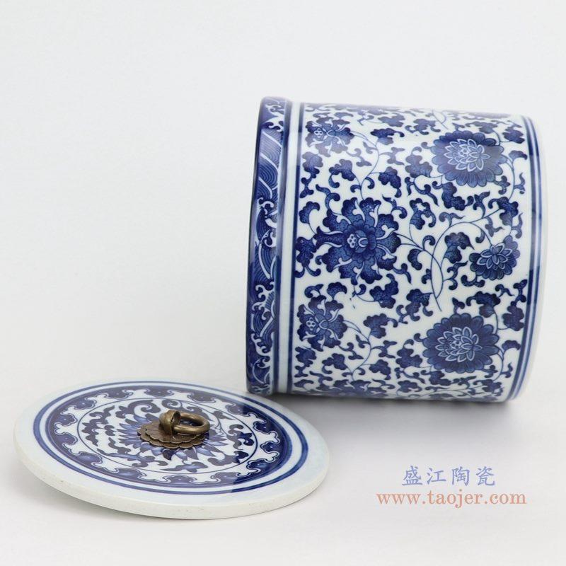 上图:青花缠枝莲纹带铜环盖子圆直筒茶叶罐子侧面图 购买请点击图片