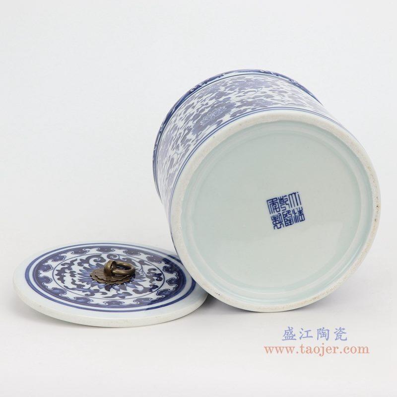 上图:青花缠枝莲纹带铜环盖子圆直筒茶叶罐子底部图  购买请点击图片
