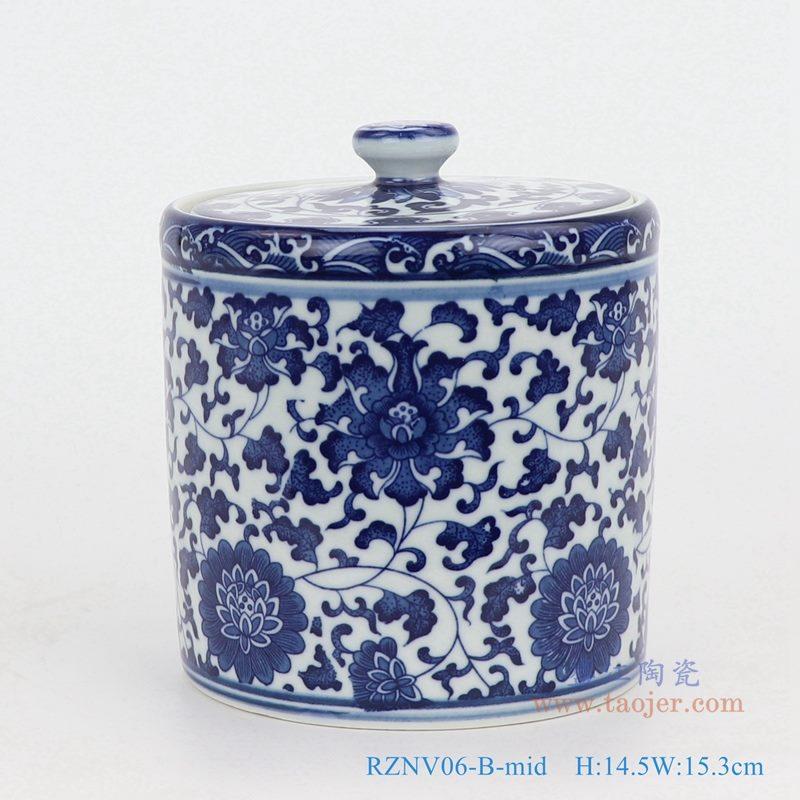 上图:青花缠枝莲纹带盖圆直筒茶叶罐子号正面图  购买请点击图片