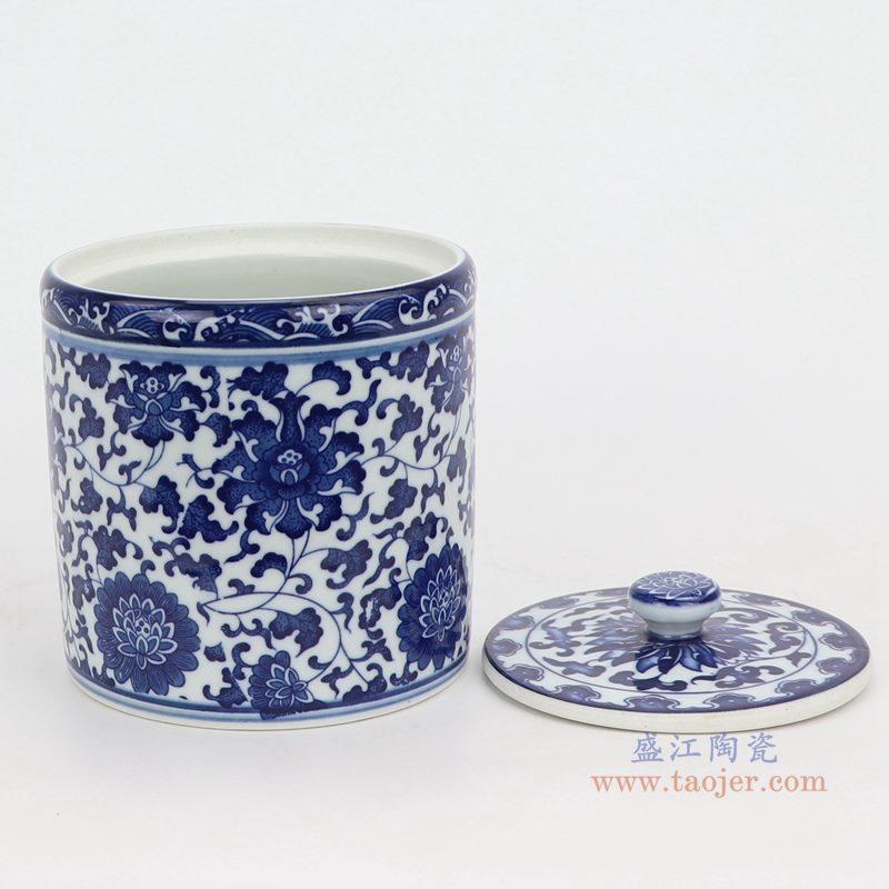 上图:青花缠枝莲纹带盖圆直筒茶叶罐子号侧面图  购买请点击图片