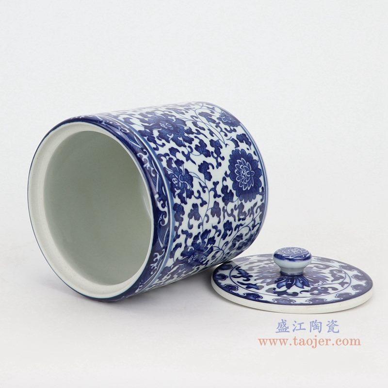 上图:青花缠枝莲纹带盖圆直筒茶叶罐子号口部图  购买请点击图片