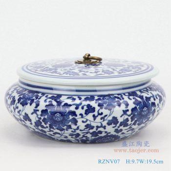 RZNV07-青花缠枝莲纹带铜环盖子圆扁肚茶叶罐子