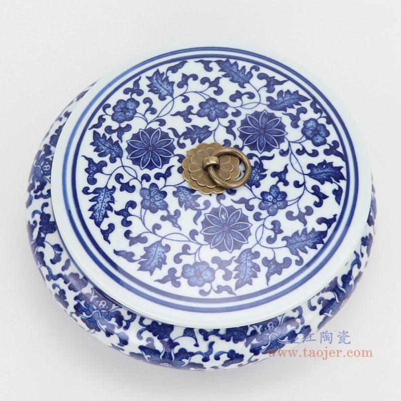 上图:青花缠枝莲纹带铜环盖子圆扁肚茶叶罐子 购买请点击图片