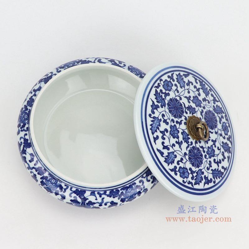 上图:青花缠枝莲纹带铜环盖子圆扁肚茶叶罐子口部图 购买请点击图片