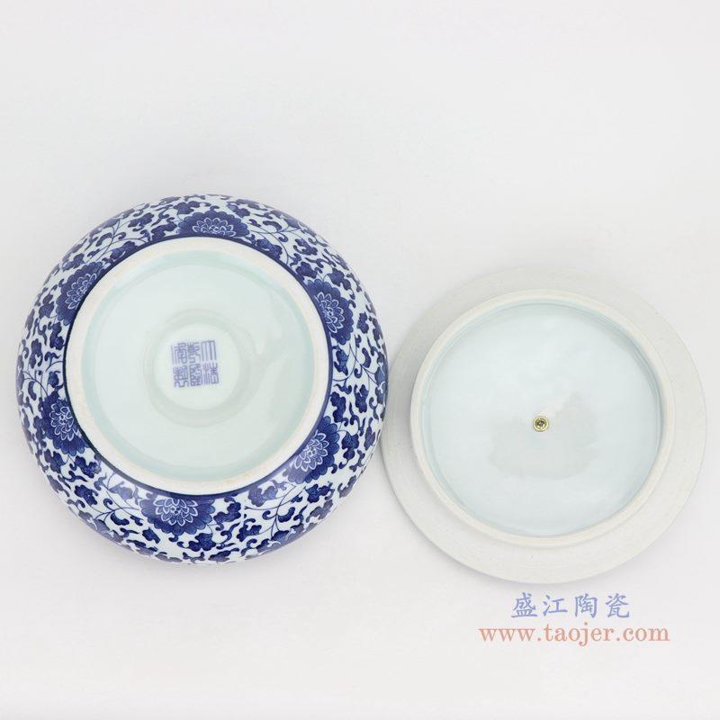 上图:青花缠枝莲纹带铜环盖子圆扁肚茶叶罐子底部图 购买请点击图片