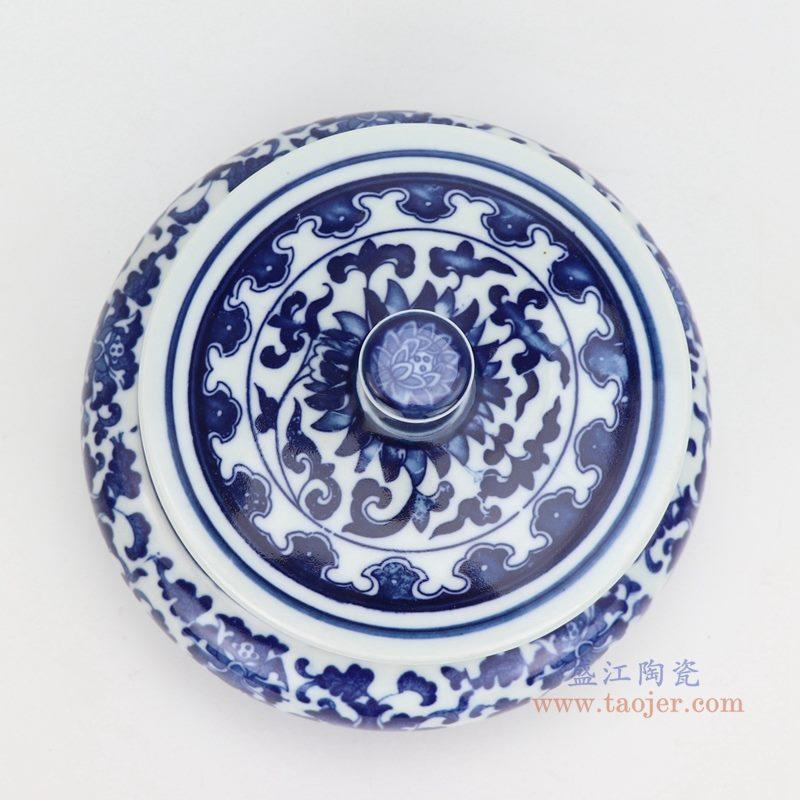 上图:青花缠枝莲纹带盖圆扁肚茶叶罐子小号 购买请点击图片