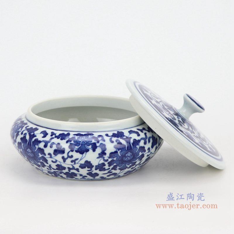 上图:青花缠枝莲纹带盖圆扁肚茶叶罐子大号 购买请点击图片
