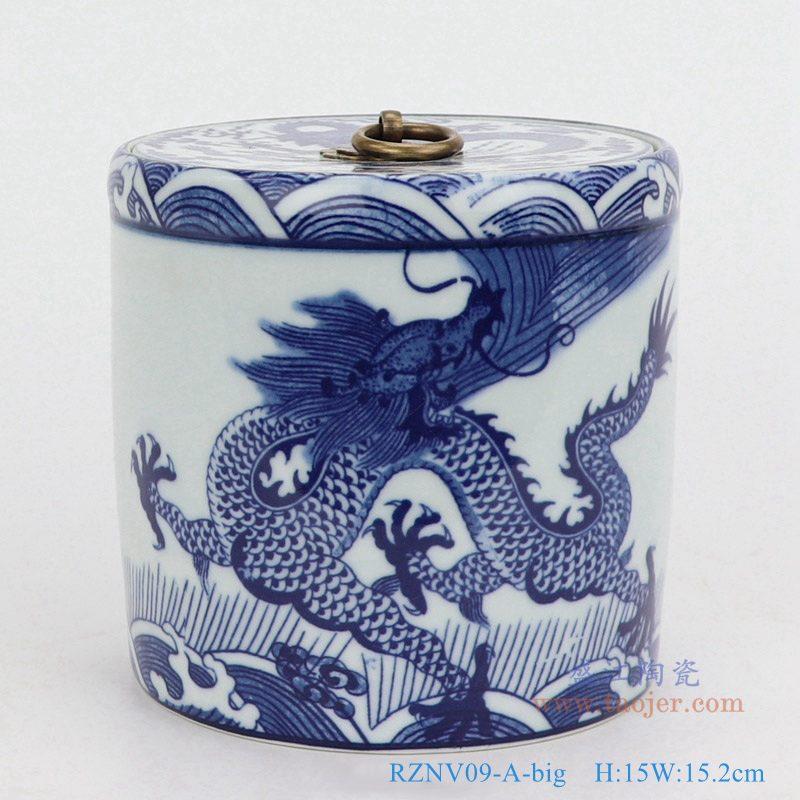 上图:青花海水龙纹带铜环盖子圆直筒茶叶罐子大号 购买请点击图片