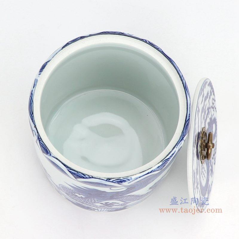 上图:青花海水龙纹带铜环盖子圆直筒茶叶罐子小号口部  购买请点击图片