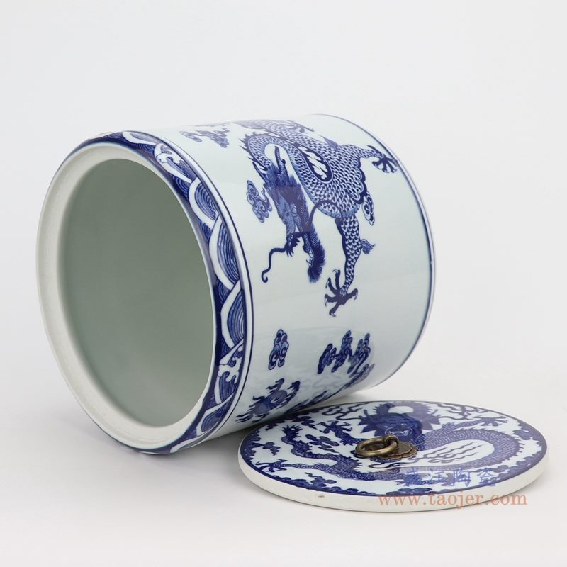 上图:青花云龙纹带双龙戏珠盖子圆直筒茶叶罐子口部图   购买请点击图片