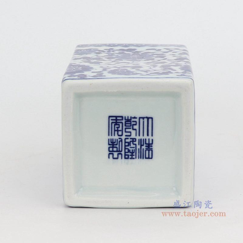上图:青花缠枝莲纹四方形直筒青花方口小笔筒花瓶底部 购买请点击图