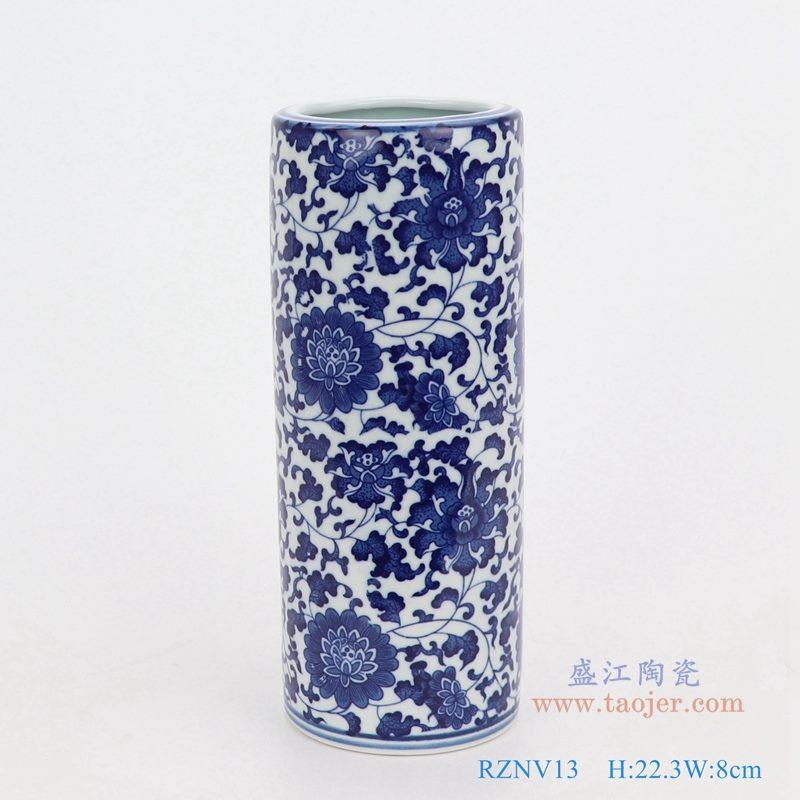 上图:青花缠枝莲纹圆形直筒青花圆口笔筒小花瓶 购买请点击图片
