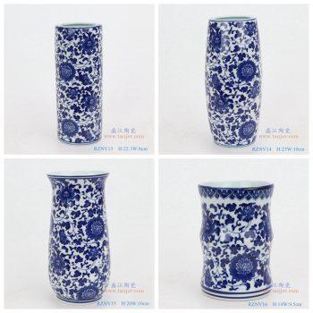 RZNV13-16-青花缠枝莲纹圆形直筒青花圆口笔筒小花瓶