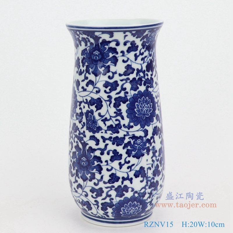 上图:青花缠枝莲纹圆形筒青花敞口弧形笔筒小花瓶  购买请点击图片